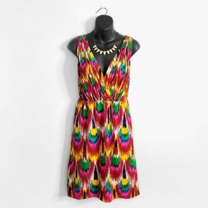 ALICE + OLIVIA Colorful Peacock Surplice Dress